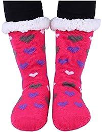 Haked Womens Sherpa Heart Deer Lined Knit Festive Winter Warm Soft Non-slip Fleece Slipper Socks