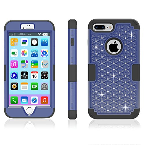 iPhone 7 and iPhone 7 Plus Case, Yaxiny Diamonds Hybrid Heavy Duty Shockproof Full-Body Protective Case with Dual Layer [Hard PC+ Soft Silicone] Impact Protection for Apple iPhone 7 and iPhone 7 Plus  Blue/Black