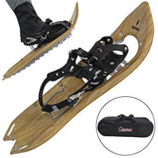 ALPIDEX Schneeschuhe Holzoptik Vintage mit Steighilfe und inkl. Tragetasche - geeignet für Schuhgröße 38 bis 45 ; wahlweise mit oder ohne Stöcke erhältlich, Farbe:Brown Timber - ohne Stöcke