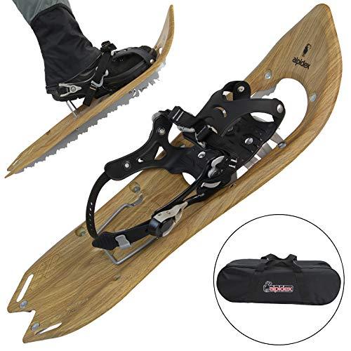 ALPIDEX Raquetas Nieve Estilo Madera Vintage Bolsa Transporte Bastones Carbono Opcional, Color:Brown Timber sin Bastones