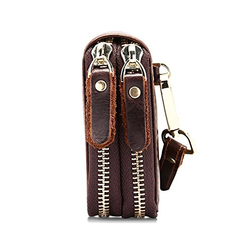 H&W Unterarmtasche Handgelenktasche Clutch Geldbörse Portemonnaie Leder für Herren Braun#13