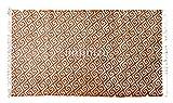 IINFINIZE 6,4 x 1,5 m indisches Holz Handblockdruck Vintage Baumwolle Teppich Meditation Fußmatte Groß Fläche Teppich Handloom gewebt Kilim Teppich Handarbeit Natur Baumwolle Dari Gebetsmatte Teppich