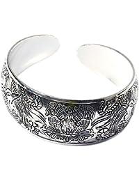 BODYA silver plated Classic Tibet Phoenix Peony Luck Unisex Tibet wide Cuff Adjustable Bracelet