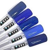 Color Gel 5er Set (je 5ml): Above the clouds - Gel Blau, Gel Multiblau, Gel klassisches Blau, Gel Blau Glitter
