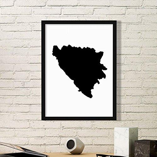 DIYthinker Bosnien und Herzegowina Karte Land-Kunst-Malerei Bild Foto Wooden Rectangle Rahmen Ausgangswand-Dekor-Geschenk Small Schwarz