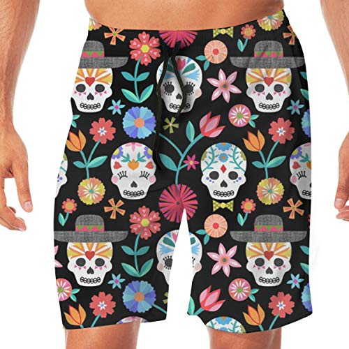 hulili Sugar Skulls - Black Small Scale Men's Swimming Trousers Quick-Drying Beach Polyester Shorts -