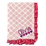 shopagift Mädchen pink Rüschen Satin Trim personalisierbar mit Namen bestickt Decke