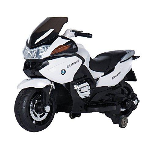 Moto eléctrica para niños de 12v, estilo BMW R 1200RT de Babycoches, ruedines desmontables, neumaticos caucho, asiento polipiel, equipo audio, 12 Voltios COLOR BLANCO