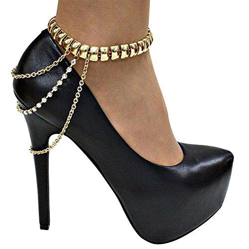2 PCS Gorgeous Glitter Tassel Multi Chain Foot Ankle Chain for High...
