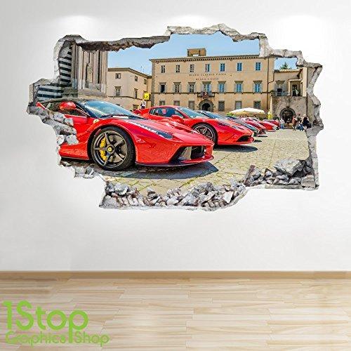 Ferrari Wandaufkleber 3D Optik - Jungen Kinder Schlafzimmer SUPERAUTO Wand Abziehbilder Z293 - Large: 70 cm x 111 cm (Ferrari Home Decor)