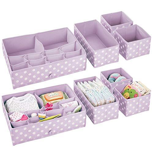 mDesign boîte de rangement (lot de 8) - rangement tiroir pour la chambre d'enfants - bac de rangement à 26 compartiments pour vêtements, couches, jouets, etc. - violet clair et blanc