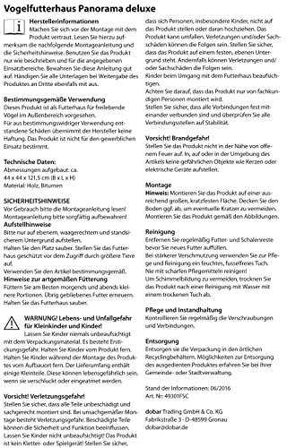 dobar 49301FSC Großes Vogelhaus mit Ständer, Vogelfutterhaus XL für Wildvögel 6-eckig, braun - 4