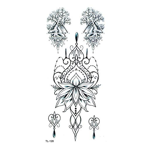 LBBMBC Lotus Crown wasserdicht temporäre Tätowierung Mann Baum Henna Tattoo Sticker Schönheit Blume Kind Tattoo Girl (Temporäre Tattoos Kid)