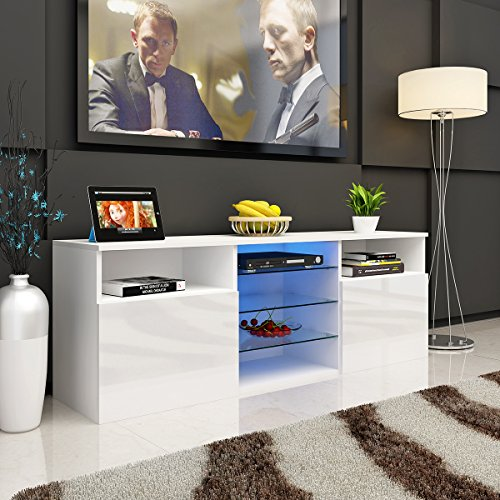 Panana Modern Designs Living Room Furniture TV Stand Storage Cabinet Extra Large Unit (146*35*51cm, White)