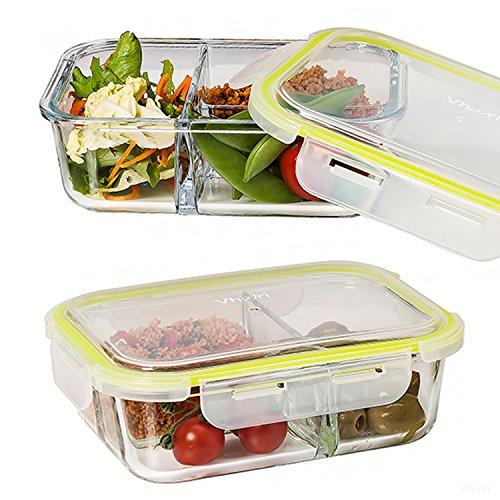 Vhari 3 compartimiento de alimentos de vidrio contenedor caja de almue