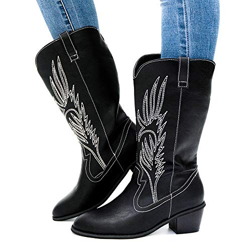 Womens Cowboy Boots Ladies Winter Cowgirl Boots Faux Leather 5.3CM Mid Block Heel Slip On Horse Ridng Western Wide Calf Boot Vintage Comfort Black Brown White Size 3-9 UK