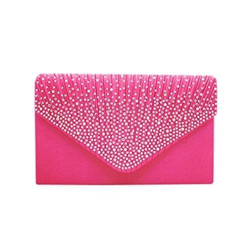 Bag BURFLY Party Handtaschen Satin ❤️ Kleine Clutch Abend Klappe Umschlag Frauen Diamante Pink Braut vr4vRqzA
