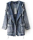 Damen Jeansjacke Lang mit Kapuze Denim Jacket Hoodie Outerwear mit Seitentasche Trenchcoat Mantel (One Size)