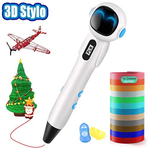 Lovebay Stylo 3D, Stylo 3D pour Enfant et Adulte Robot Créatif Professionnel 3D Pen écran LCD Colorés avec 2 Filament PLA/ABS-...