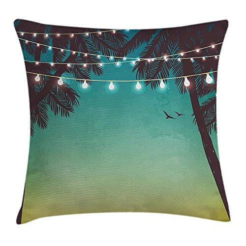 Apartment Decor Throw Pillow Cushion Cover, Night Time Beach Sunset with Little Lantern and Island Palm Trees Art Print, Decorative Square Accent Pillow Case, 18 X 18 Inches, Multicolor