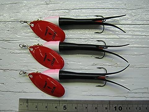 (D189) Flying C Spinners: environ 20g avec # 4Français Rouge Winner Lame, 3Lot de l'article Corps Noir avec têtes Bullet Rose et Blanc
