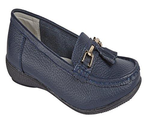 Donna ballerine pelle Deck mocassini barca scarpe da guida con bar & nappe taglia UK 3–8 Navy