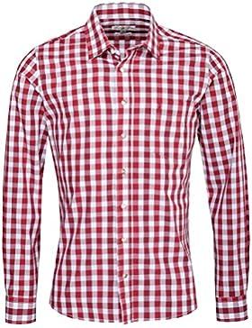 Almsach Trachtenhemd Nikolas Slim Fit Mehrfarbig in Rot, Dunkelrot und Weiß Inklusive Volksfestfinder