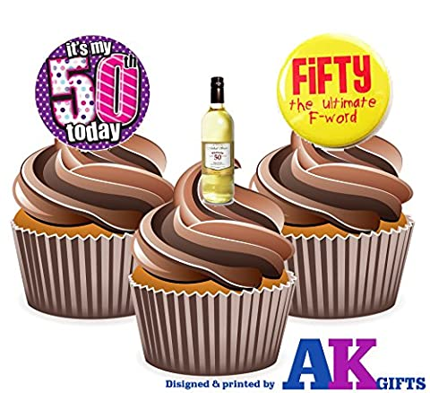 Fun 50th Birthday Wine Mix, 12 Cup Cake Toppers, Edible Stand Up Decorations