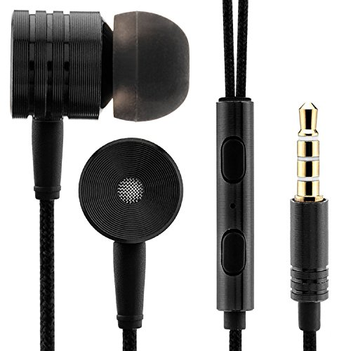 Saxonia Kopfhörer In-Ear Stereo Headset Ohrhörer mit Mikrofon Nylon Kabel   3,5mm Klinkenstecker (Klinke) Schwarz
