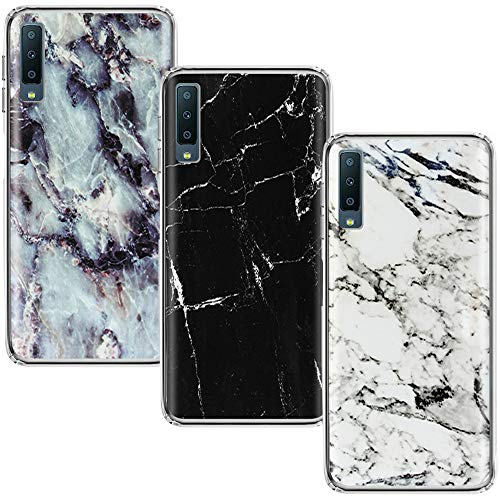 CLM-Tech Cover Compatibile con Samsung Galaxy A7 2018, 3X Custodia in Silicone TPU, Case 3in1 Set, Marmo Bianco Nero