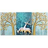 Rangoli 3D Print Deer MDF Framed Painting for Home Decoration (3D Unique, 12 inch x 18 inch,Each Frame Size Set of 3) Water Proof Wall Hanging