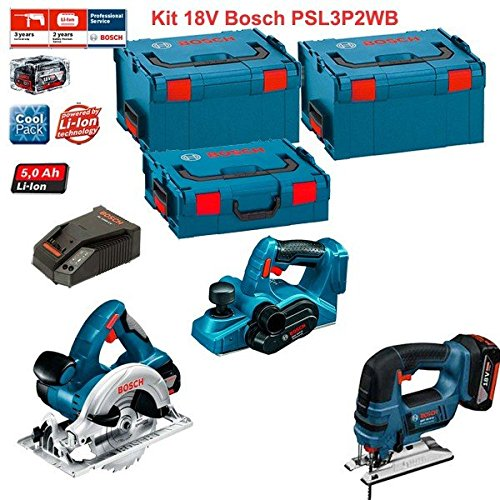 Kit Bosch PSL3P2WB (GST 18 V-LI + GKS 18 V-LI + GHO 18 V-LI + Ladegerät AL1860CV + 2 Akkus 5,0 Ah + Koffer L-Boxx 136 + 2 x Koffer L-Boxx 238)