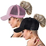 ZOORON - Gorra de béisbol - para Mujer Black+Pink(2 Pack, Mesh Back) Talla única