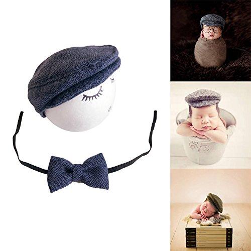 Handgefertigt Infant Newborn Baby Mädchen Boy Kleiner gentleman Hat Krawatte Fotografie Requisiten OUTFITS Kostüm (Navy (Lucky Girl Kostüm)
