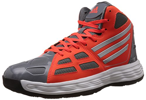 Adidas Men's Bully Grey, Silver and Solar Red Basketball Shoes - 9 UK