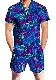 Chicolife Hawaii Hosen Kleidung Kurzarm Reise Urlaub Jumpsuit Anzug Palm Muster