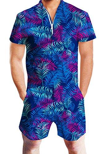 chicolife Zipper Kurzarm Reise Urlaub Jumpsuit Anzug Hawaii Stil Hosen Kleidung Outfits (Erwachsene Strampelanzug Outfits)