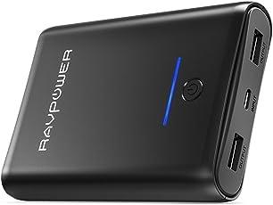 Externer Akku RAVPower 10000mAh Powerbank mit iSmart 2.0 3,4A Output 2 Ausgänge Handy Ladegerät für iPhone XS Max / XR / X / 8/8 Plus, iPad 2018, Galaxy S9 / S8 Weitere Smartphone und Tablet (in Schwarz)