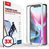 Zizo Lightning Shield Tempered Glass Screen Protector - 3 Pack - iPhone X - Anti Scratch with 9H Hardness (Clear)
