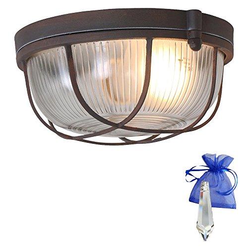 Bootsleuchte Braun Rost Optik ø 24cm Vintage E27 als Deckenleuchte und Wandleuchte verwendbar Retro Industrie-Lampe Schiffsleuchte Design-Kellerleuchte Rund 230V + Giveaway