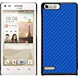 PhoneNatic Case für Huawei Ascend P7 Mini Hülle blau Carbonoptik Hard-case + 2 Schutzfolien