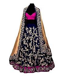 Shree Impex Womens Taffeta Silk Lehenga Choli (Andhariyo_002_Navy Blue_Free Size)