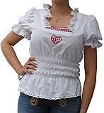 Trachtenblusen Damen Blusen Rüschen Spitze Weiß Baumwolle Kurzarm Herz 42