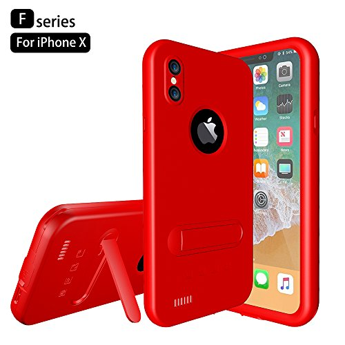 Custodia Protettiva Impermeabile Apple iPhone X, Voguecase Funda Impermeabile Cover / Case / Custodia PC + TPU Duro Rigida Ibrido con Hand Strap & Headphone Adapter (Nero) Con Stilo Penna Rosso