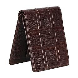 WhiteAsh Mens 3d Pattern Brown Genuine Leather Wallet(6 Card Slots)