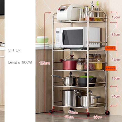 Große Mikrowelle Rack Küche Zähler Und Schrank Regal 5 Tier Einstellbare Topf Organizer Erweiterbar Lagerung Edelstahl Racks 60 Cm (größe : 5 tier) -