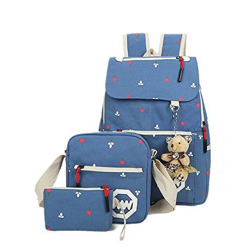 Lässige Leinwand Rucksack Lash Schultasche Schulter Messenger Bag Reise Laptop Tasche Leichte Rucksäcke Bleistift Tasche mit Teddybär für Teen Junge Mädchen Blau
