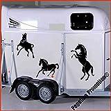 3 Pferde, steigend und gallopierend Aufkleber Anhänger Pferd Anhänger je ca. 60, 40 und 30cm