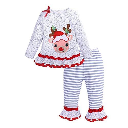 (LSERVER Kinderkleidung Mädchen Langarm Elk Top + gestreiften Hosen Set Weihnachten Kinderkleidung, Grau, 86(Fabrikgröße: 90))