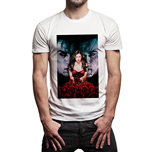 The Vampire Diares Damon Elena Stefan Painted Blood Background Herren T-Shirt Weiß